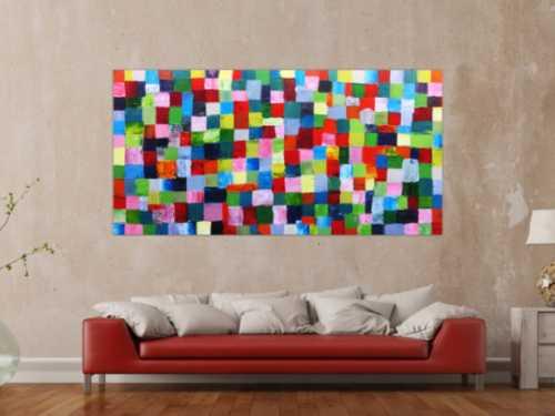 Abstraktes Acrylbild bunte Kacheln