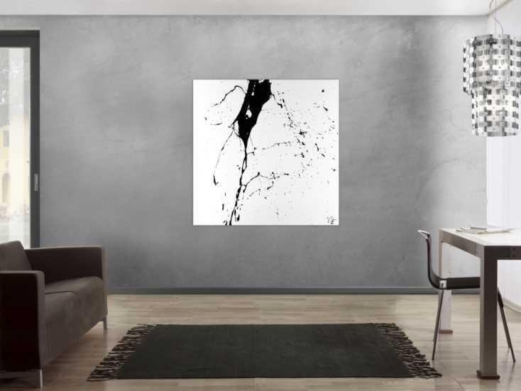 #1500 Abstraktes Acrylbild schwarz weiß minimalistisch Action Painting auf ... 120x120cm von Alex Zerr