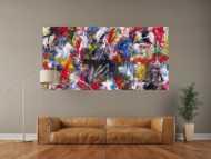 Abstraktes Gemälde handgemalt Action Painting zeitgenössisch expressionistisch auf Leinwand
