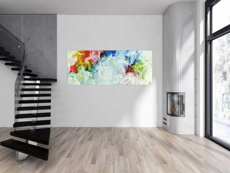#1504 Abstraktes Acrylbild Action Paiting helle farben Modern Art ... 80x200cm von Alex Zerr