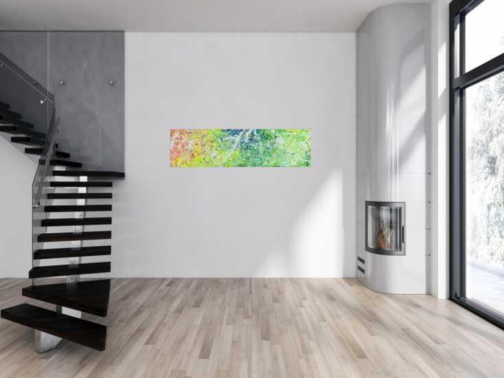 #1505 Abstraktes Acrylbild Modern Art Action Painting zeitgenössisches ... 40x150cm von Alex Zerr