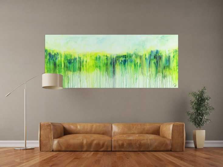 #1506 Abstraktes Acrylbild Modern Art expressionsistisches Gemälde gelb ... 80x200cm von Alex Zerr