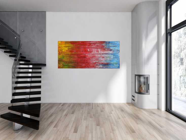 #1507 Abstraktes Gemälde Modern Art Spachteltechnik gelb rot blau grün ... 80x180cm von Alex Zerr