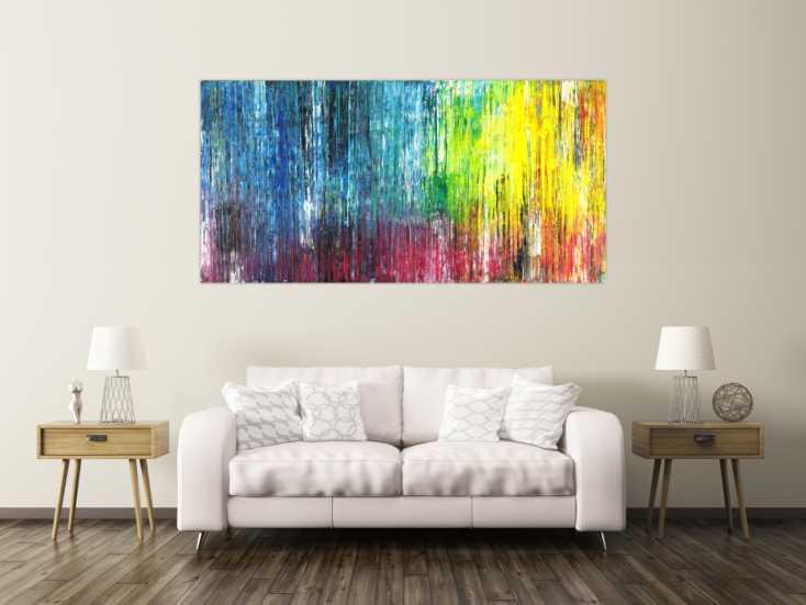 #1509 Abstraktes Acrylild Spahteltechnik zeitgenössisch bunt Modern Art 100x200cm von Alex Zerr