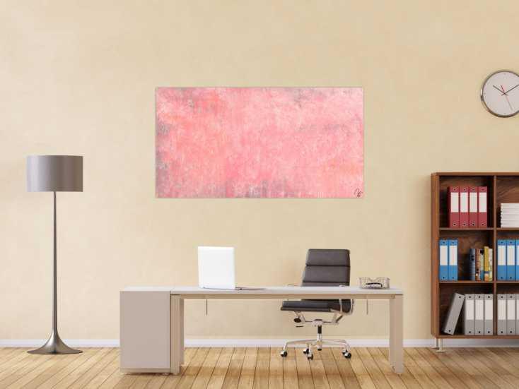 #1513 Abstraktes Acrylbild altrosa handgemalt auf Leinwand zeitgenössisch ... 80x150cm von Alex Zerr
