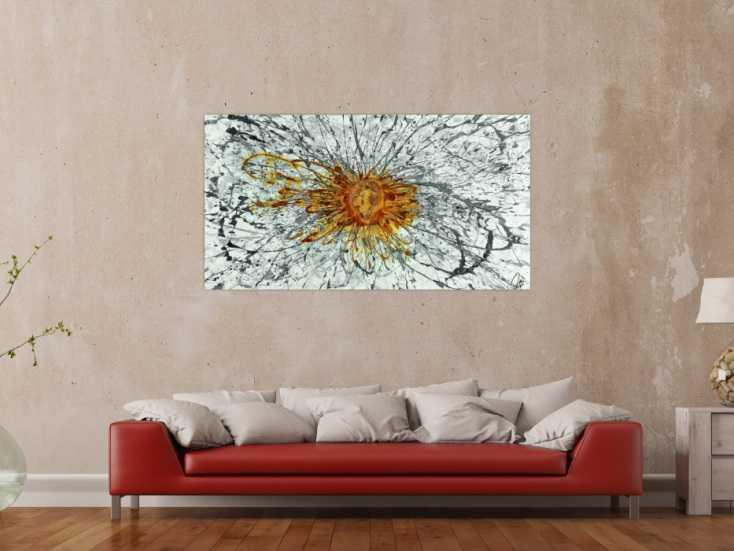 #1514 Abstraktes Acrylbild mit echtem Rost auf Leinwand handgemalt Modern ... 80x150cm von Alex Zerr