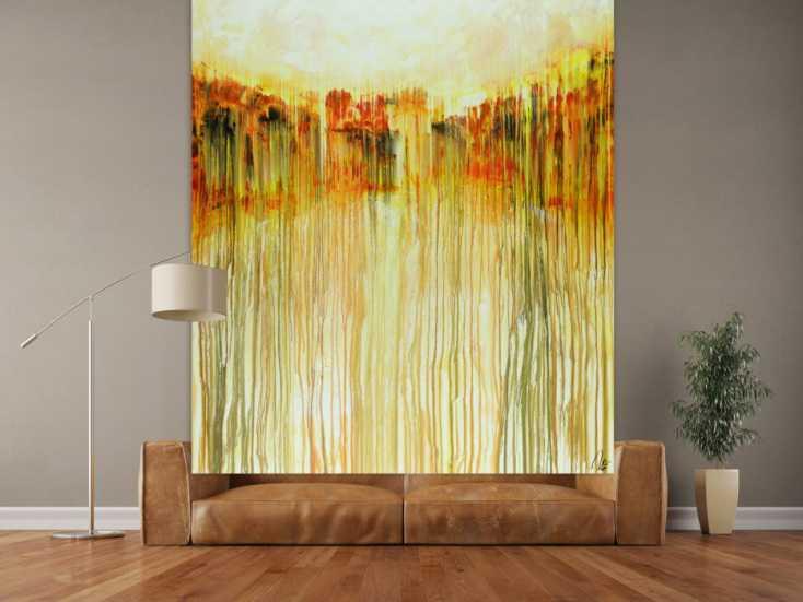 #1515 Abstraktes Acrylbild auf Leinwand handgemalt im Hochformat orange ... 150x180cm von Alex Zerr