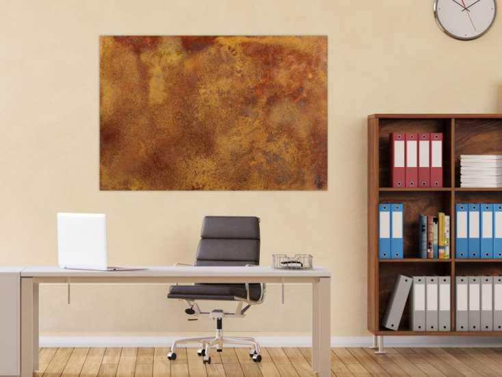 #1518 Abstraktes Bild aus echtem Rost auf Leinwand handgemalt Modern Art ... 86x128cm von Alex Zerr