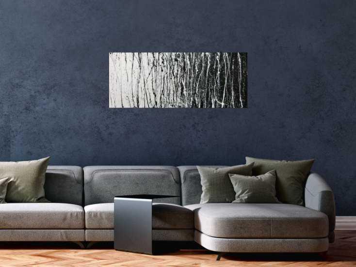 abstraktes acrylbild schwarz wei modern auf leinwand 80x100cm. Black Bedroom Furniture Sets. Home Design Ideas