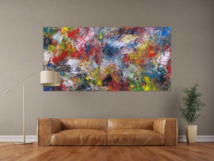 #1522 Abstraktes Gemälde Modern Art auf Leinwand Spachteltechnik bunte ... 100x200cm von Alex Zerr