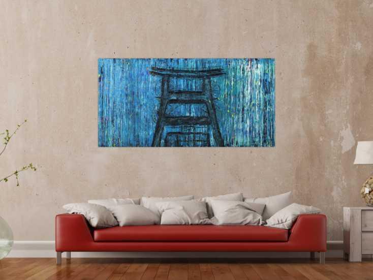 #1523 Abstraktes Bild auf Leinwand handgemalt Modern Art blau türkis ... 80x160cm von Alex Zerr