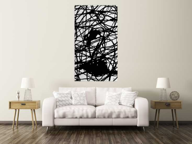 #1525 Abstraktes Acrylbild schwarz weiß Action Painting Modern Art ... 160x90cm von Alex Zerr
