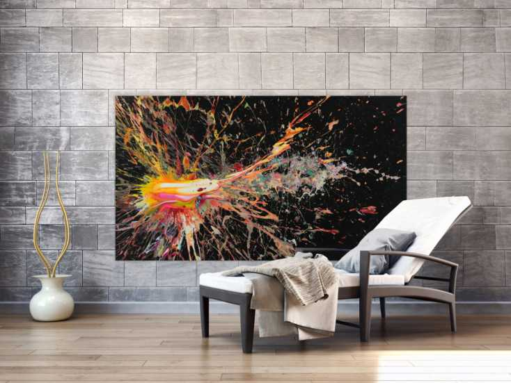 #1526 Abstraktes Acrylbild auf Leinwand Action Painting Neon Farben Modern ... 100x180cm von Alex Zerr