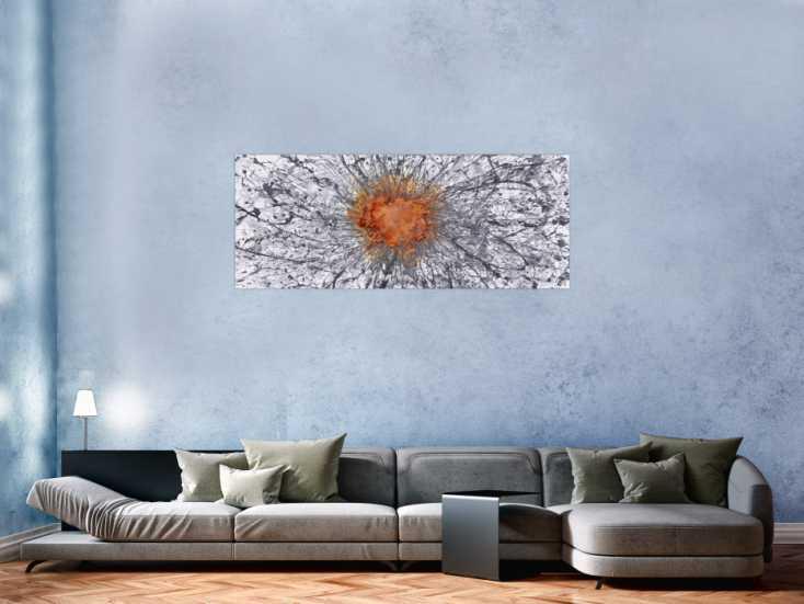#1527 Abstraktes Gemälde Mischtechnik Acryl und Rost auf Leinwand ... 60x150cm von Alex Zerr