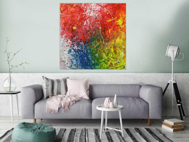 #1528 Abstraktes Acrylbild sehr bunt Action Paintng und Spachteltechnik auf ... 110x110cm von Alex Zerr