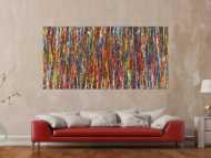 Abstraktes Gemälde auf Leinwand Acryl Action Paintng handgemalt sehr bunt zeitgenössisch Modern Art