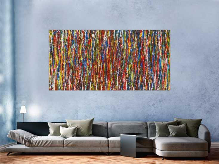 #1529 Abstraktes Gemälde auf Leinwand Acryl Action Paintng handgemalt sehr ... 100x200cm von Alex Zerr