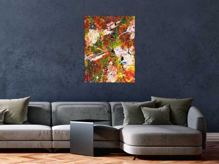 #1531 Abstraktes Acrylbild sehr bunt Spachteltechnik Action Painting ... 80x60cm von Alex Zerr