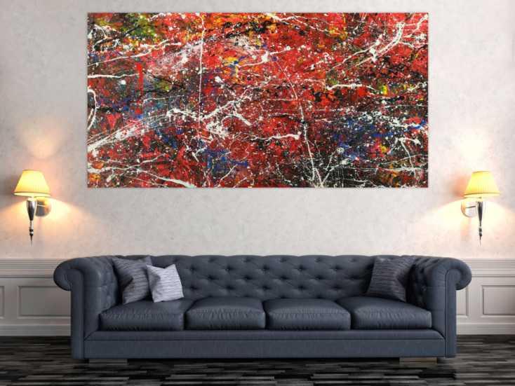 #1532 Abstraktes Acrylbild modernes Gemälde auf Leinwand handgemalt Action ... 100x200cm von Alex Zerr