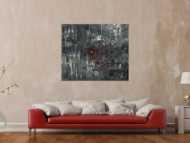 Abstraktes Acrylbild schwarz weiß grau Modern Art auf Leinwand handgemalt zeitgenössisch