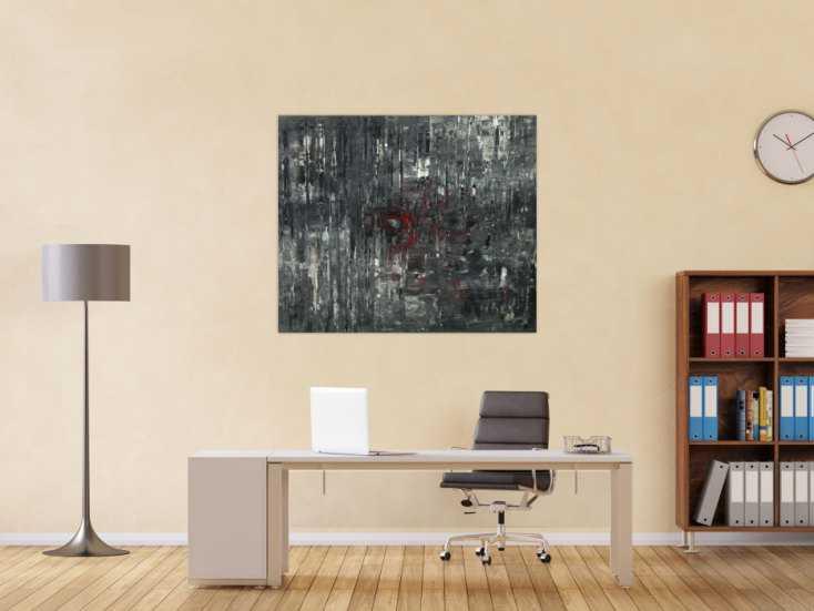 #1533 Abstraktes Acrylbild schwarz weiß grau Modern Art auf Leinwand ... 100x120cm von Alex Zerr