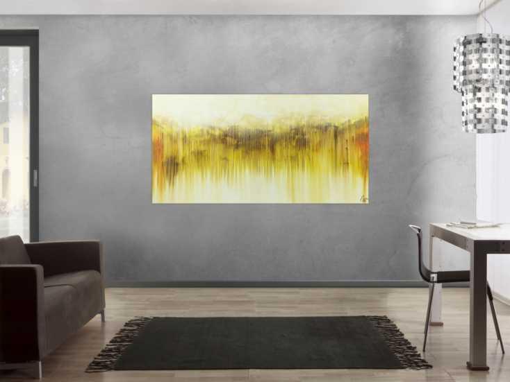 #1534 Abstraktes Acrylbild mediterrane Farben gelb weiß braun beige ... 90x180cm von Alex Zerr