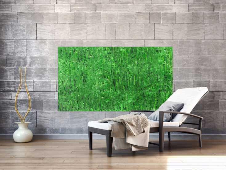 #1535 Abstraktes Gemälde auf Leinand grüne Farben handgemalt Modern Art ... 90x160cm von Alex Zerr