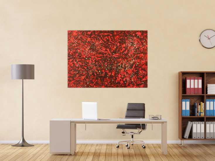 #1537 Abstraktes Gemälde rot und gold modern Art auf Leinwand handgemalt ... 100x140cm von Alex Zerr