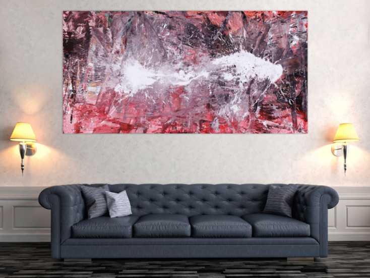 #1538 Abstraktes Gemälde Action Painting handgemalt auf Leinwand ... 100x200cm von Alex Zerr