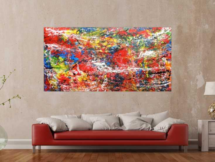 abstraktes acrylbild bunt modern auf leinwand 100x200cm. Black Bedroom Furniture Sets. Home Design Ideas