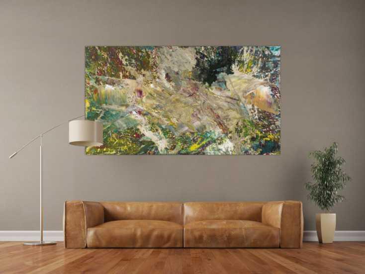 #1541 Abstraktes Gemälde Fluidpainting Modern Art auf Leinwand handgemalt ... 100x180cm von Alex Zerr
