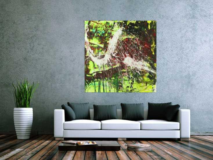 #1542 Modernes abstraktes Gemälde Action Painting Acrylbild auf Leinwand ... 120x120cm von Alex Zerr