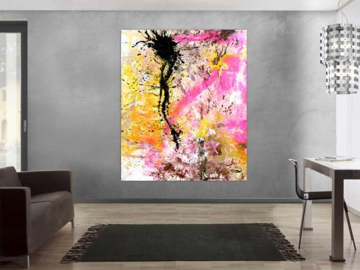 #1543 Abstraktes Gemälde Modern Art Action Painting neon Farben weiß pink ... 180x150cm von Alex Zerr