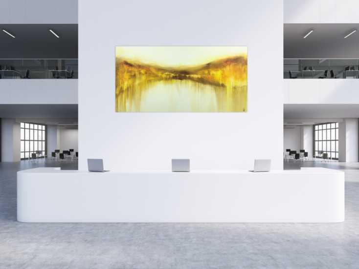 #1545 Abstraktes Gemälde handgemalt auf Leinwand weiß gelb braun ... 120x240cm von Alex Zerr