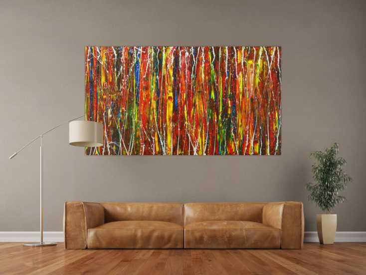 #1546 Abstraktes Gemälde handgemalt auf Leinwand modern Art bunt 100x180cm von Alex Zerr