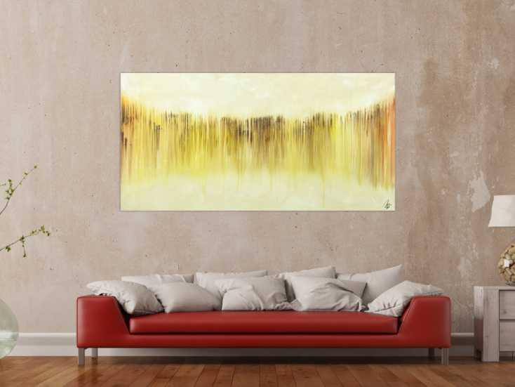 #1547 Abstraktes Bild modernes Gemälde auf Leinwand handgemalt beige gelb ... 90x180cm von Alex Zerr