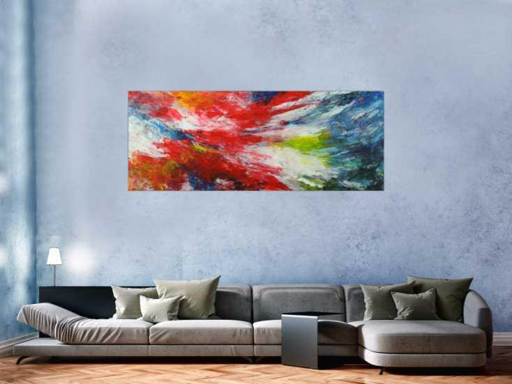 #1548 Modernes abstraktes Bild auf Leinwand handgemalt bunte Farben ... 70x180cm von Alex Zerr