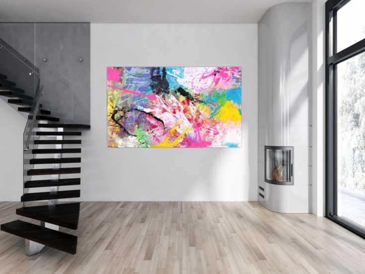 #1549 Abstraktes Gemälde sehr bunt neon Farben Action Painting Modern Art 120x200cm von Alex Zerr
