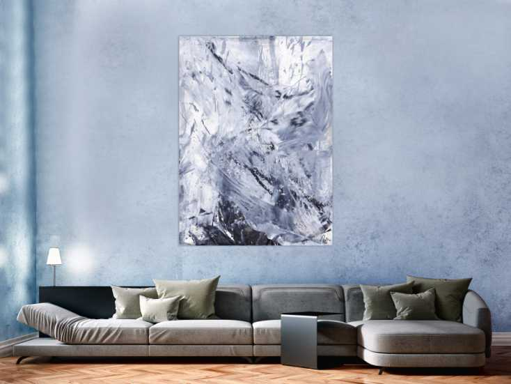 #1550 Abstraktes Gemälde schwarz weiß minimalistisch auf Leinwand 5cm ... 150x110cm von Alex Zerr