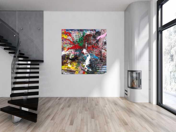 #1551 Action Painting Gemälde auf Leinwand handgemalt Modern Art bunt ... 140x140cm von Alex Zerr