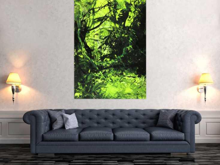 #1552 Abstraktes Gemälde neon grün schwarz Action Painting handgemalt auf ... 150x100cm von Alex Zerr