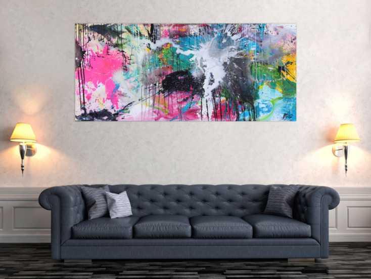 #1555 Abstraktes Gemälde sehr bunt Mondern Art handgemalt Mischtechnik 80x180cm von Alex Zerr