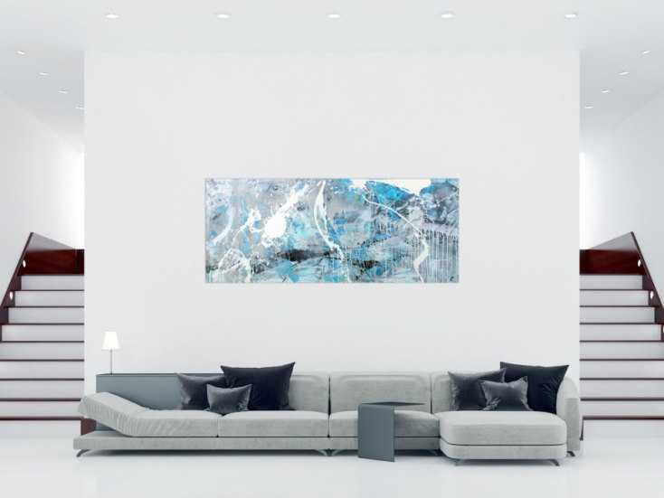 #1556 Abstraktes Gemälde hellblau grau weiß schwarz handgemalt auf ... 90x220cm von Alex Zerr