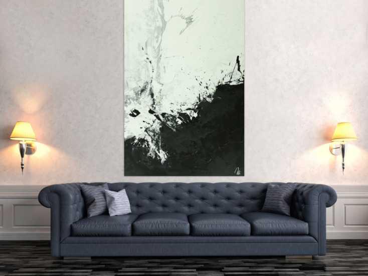 #1557 Abstraktes Gemälde minimalistisch schwarz weiß Mondern Art auf ... 170x100cm von Alex Zerr