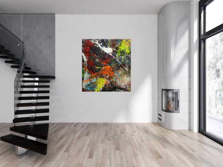 #1558 Abstraktes Gemälde bunt Action Painting Mischtechnik Modern Art auf ... 140x120cm von Alex Zerr