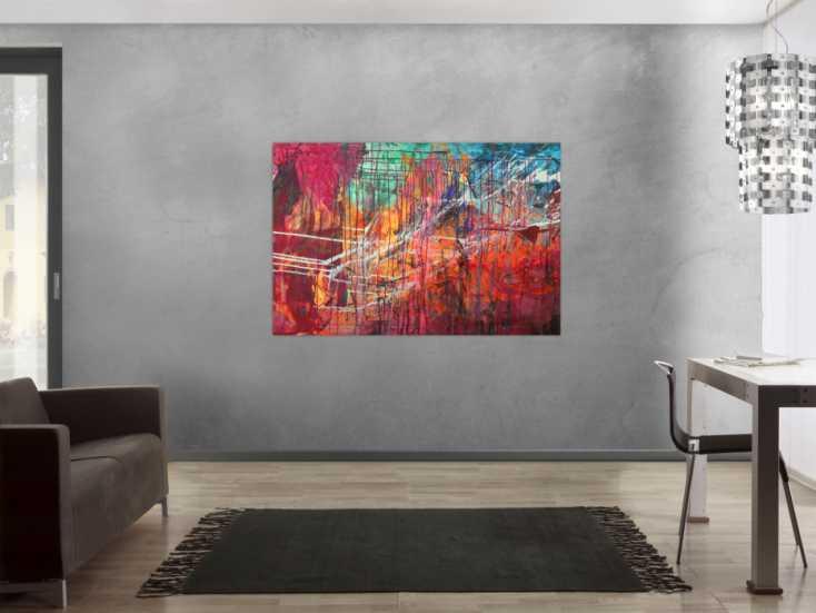 #1559 Abstraltes Gemälde Modern Art Mischtechnik bunt auf Leinwand ... 100x150cm von Alex Zerr
