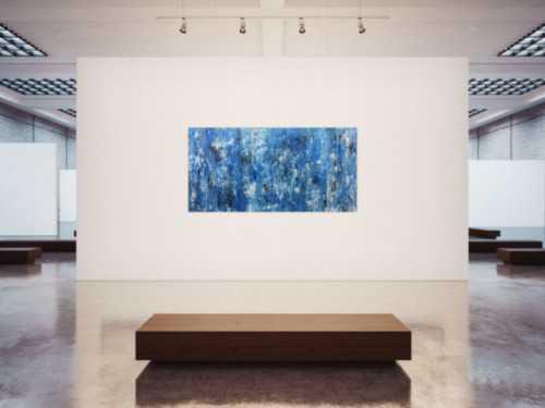 Abstraktes Acrylbild blau modern mit Muster