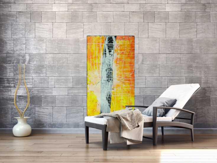 #1560 Abstraktes Gemälde minimalistisch gelb orange schwarz weiß ... 120x70cm von Alex Zerr