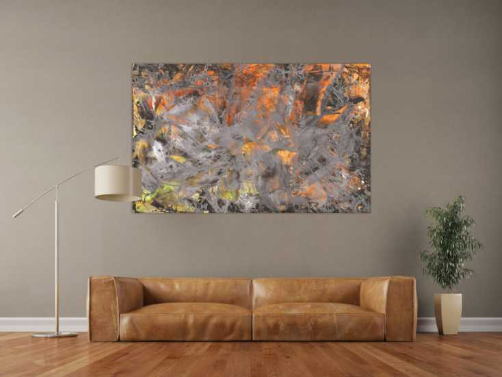 #1562 Abstraktes Gemälde neon orange grün grau Modern Art handgemalt ... 100x160cm von Alex Zerr