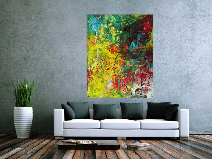 #1563 Abstraktes Gemälde Action Painting Modern Art auf Leinwand ... 140x110cm von Alex Zerr